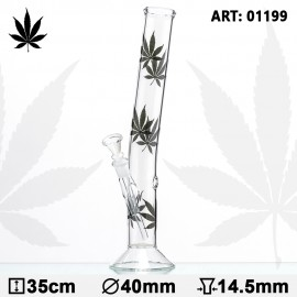 Multi Leaf Hangover Glass Bong - H: 35 cm - Ø: 40 mm - Socket: 14.5mm